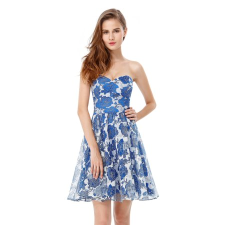 Ever-Pretty Floral Cocktail Party Dress Strapless Short Prom Homcoming Dresses 05611