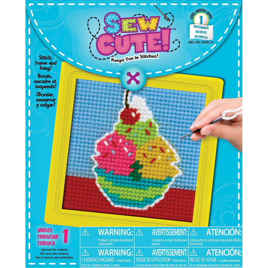"Ice Cream Learn To Sew Needlepoint Kit, 6"" x 6"", Stitched In Yarn"