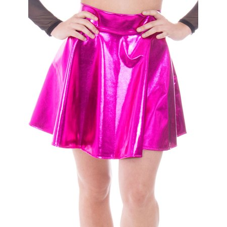 Women's Metallic Ballet Dance Flared Skater Skirt Fancy Dress, Rose
