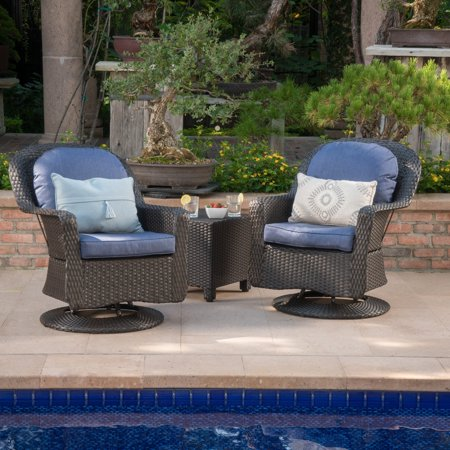 3d7d659c8949c Christopher Knight Home Liam Outdoor 3-piece Wicker Swivel Seating Set with  Cushion by - Walmart.com