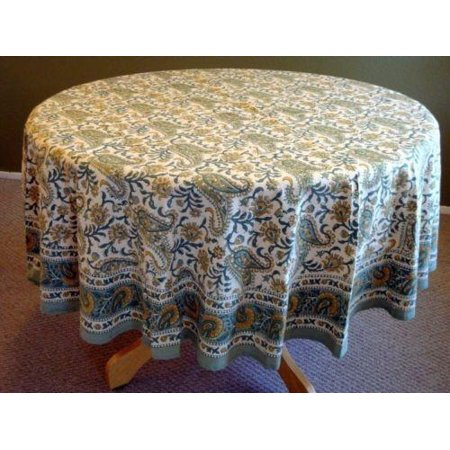 Rajasthan Paisley Floral Block Print Cotton Round Tablecloth