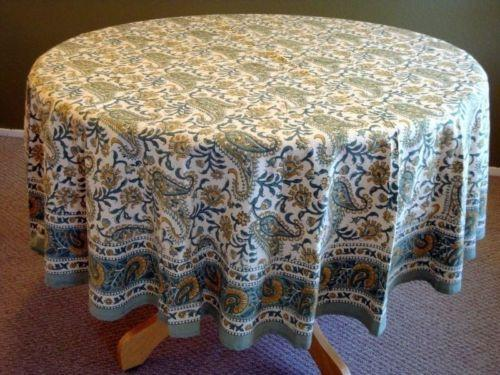 Block printed TABLECLOTH ROUND Blue and off white fine paisley pattern