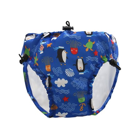 Baby & Toddler Swim Diapers Lace-up Adjustable Waterproof Leakage-proof Reusable Swimming Nappy Pants Swimwear Dark Blue XL