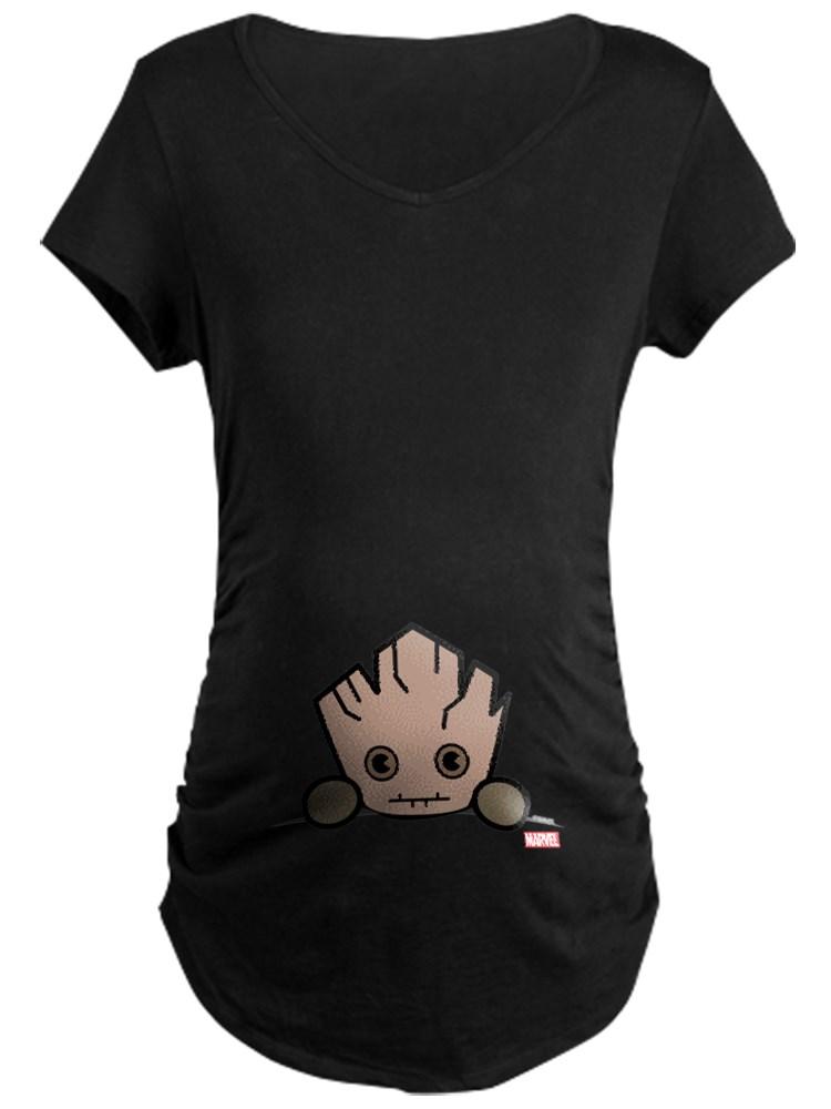 CafePress - Groot Peeking Maternity Dark T Shirt - Maternity Dark T-Shirt