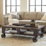 Magnussen T1755 Pinebrook Wood Rectangular Coffee Table with 2 Braking Casters