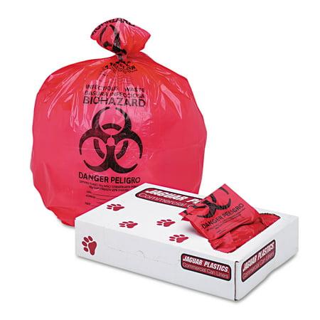 Jaguar Plastics Health Care  Biohazard  Printed Liners  1 3Mil  24 X 32  Red  250 Carton