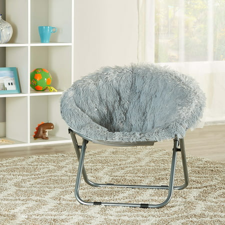 Mainstays Kids Blair Plush Faux-Fur Saucer Chair, Multiple Colors