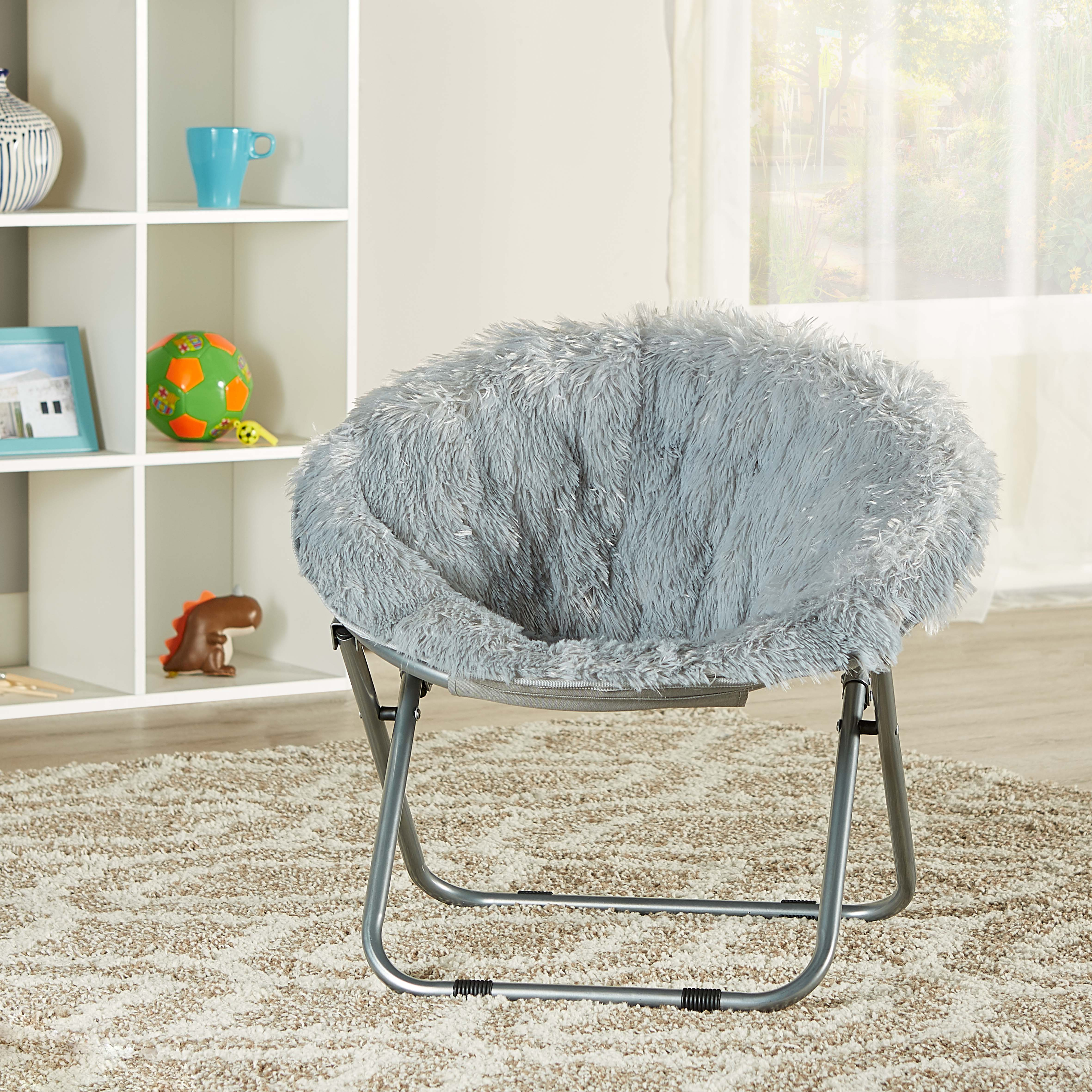 Mainstays Kids Blair Plush Faux-Fur Saucer Chair Multiple Colors - Walmart.com & Mainstays Kids Blair Plush Faux-Fur Saucer Chair Multiple Colors ...