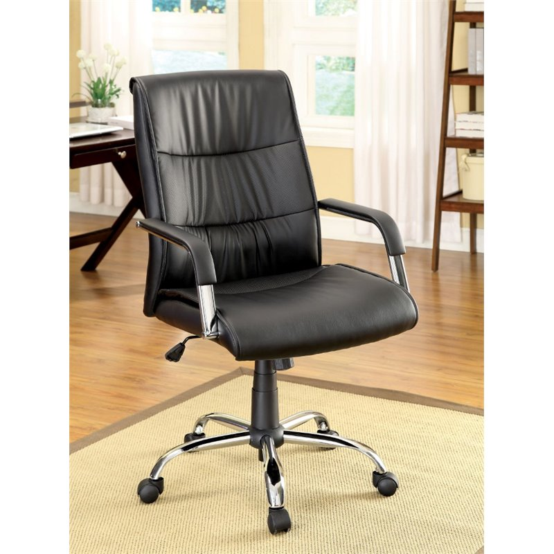 Furniture Of America Gehlert Leather Swivel Office Chair In Black Walmart Com Walmart Com