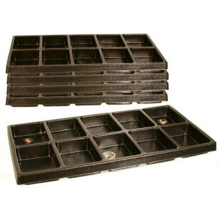 - 5 Pocket Watch Case Movement Display Boxes, A new set of five 10 compartment stackable black plastic tray inserts By FindingKing