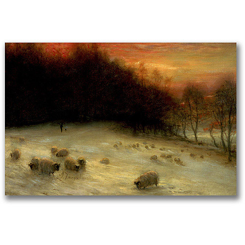 "Trademark Fine Art ""Sheep In A Winter Landscape"" Canvas Wall Art by Joseph Farquharson"