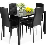 Gymax 5-Pieces Table Chair Kitchen Dining Set Furniture Glass Metal