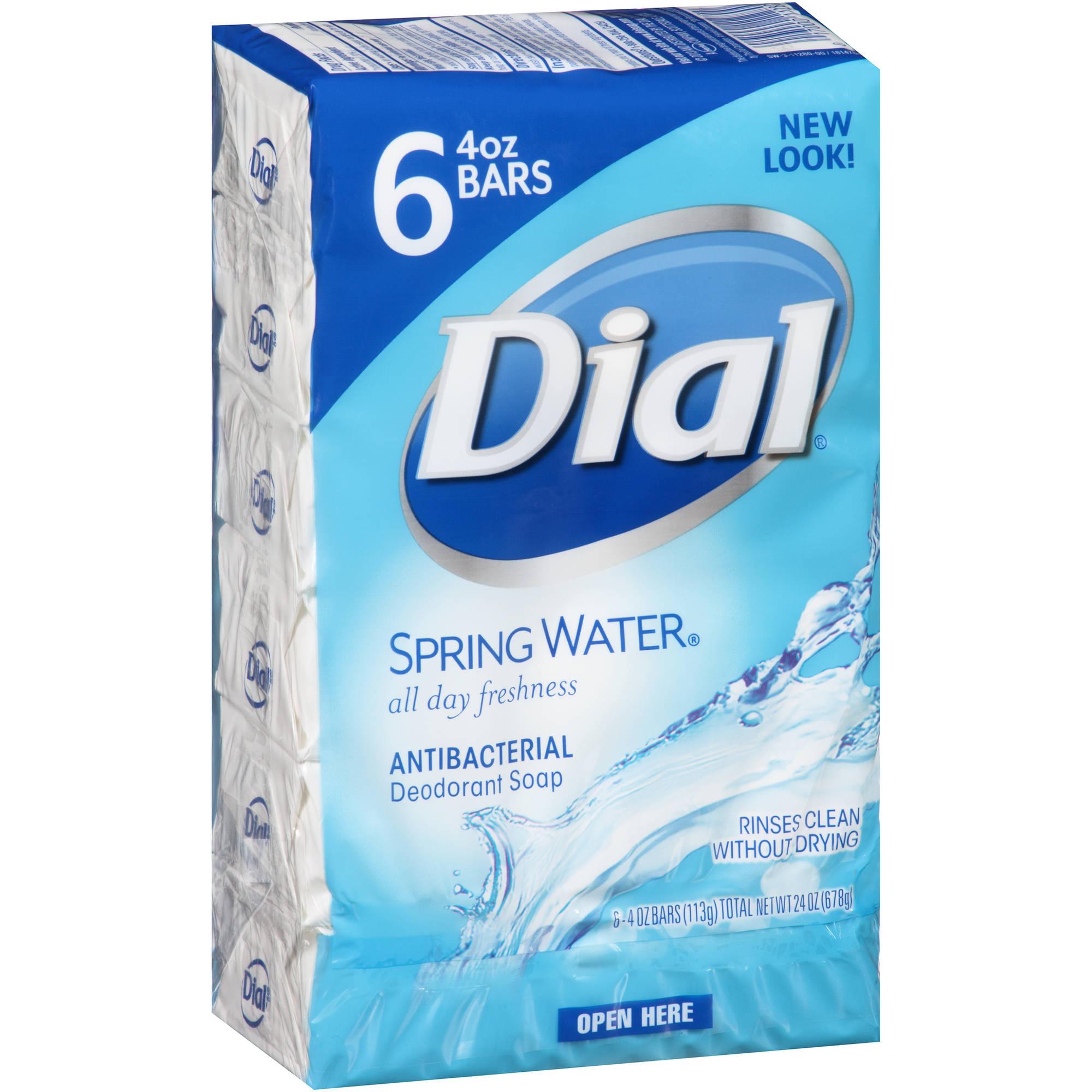 Dial Spring Water Antibacterial Deodorant Bar Soap, 4 oz, 6 count
