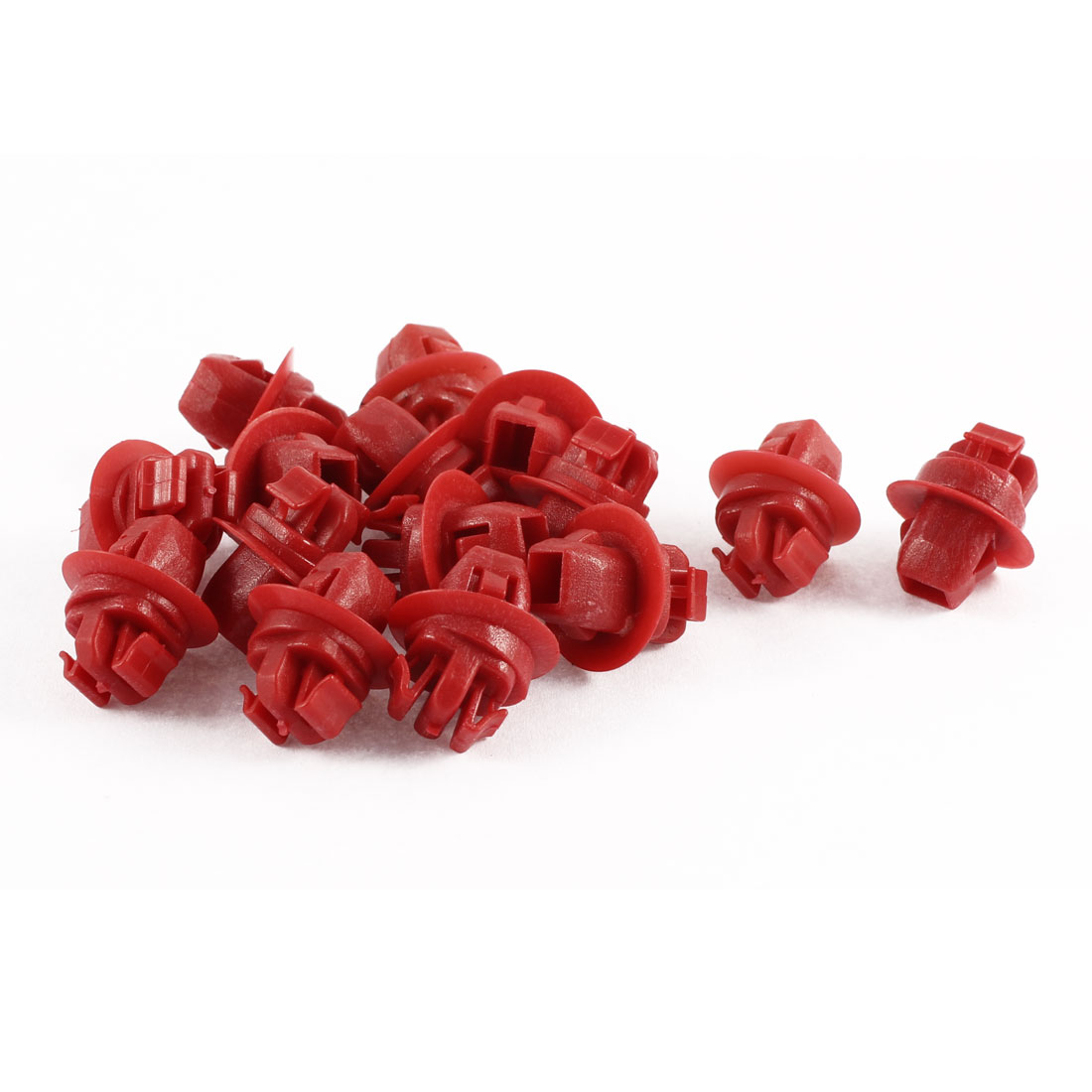15 Pcs Red Plastic 10mm Dia Hole Fastener Door Lock Rod End Clamps for Toyota