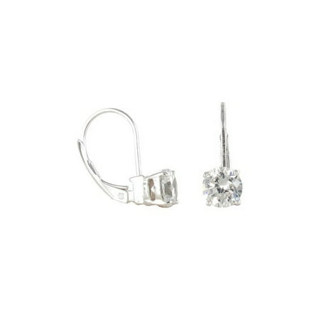Square CZ Sterling Silver Drop Earrings ()
