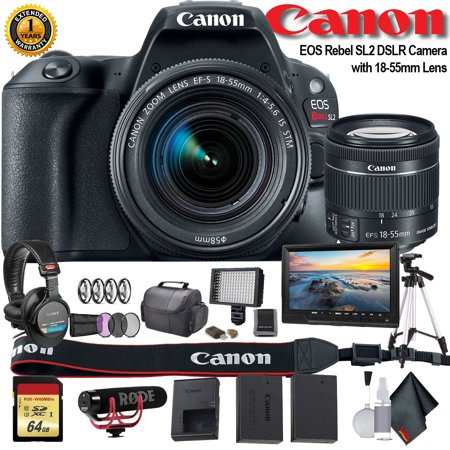 Canon EOS Rebel SL2 DSLR Camera with 18-55mm Lens W/ Bag, Extra Battery, LED Light, Mic, Filters, Tripod, Monitor and More - Professional -