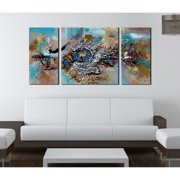 The Lighting Store Hand-painted 'Abstract 491' 3-piece Gallery-wrapped Canvas Art Set