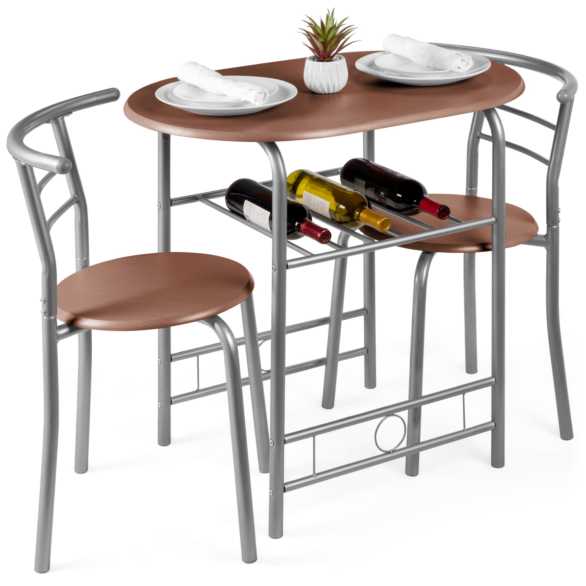 Best Choice Products 3 Piece Wood Dining Room Round Table Chairs Set W Steel Frame Built In Wine Rack Espresso Walmart Com Walmart Com