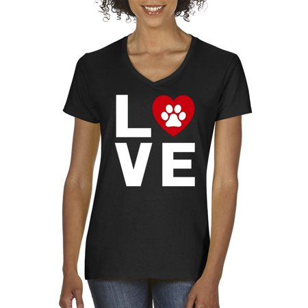 Trendy USA 838 - Women's V-Neck T-Shirt Love Dogs Puppies Heart Paw Print Small