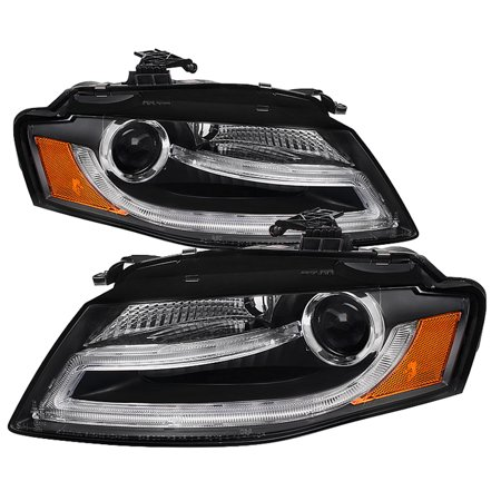 - Spyder Audi A4 09-12 Projector Headlights - Halogen Model Only ( Not Compatible with Xenon/HID Model ) - DRL LED - Black