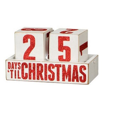 Box Sign Days Til Christmas Countdown Blocks Wooden Calendar ()