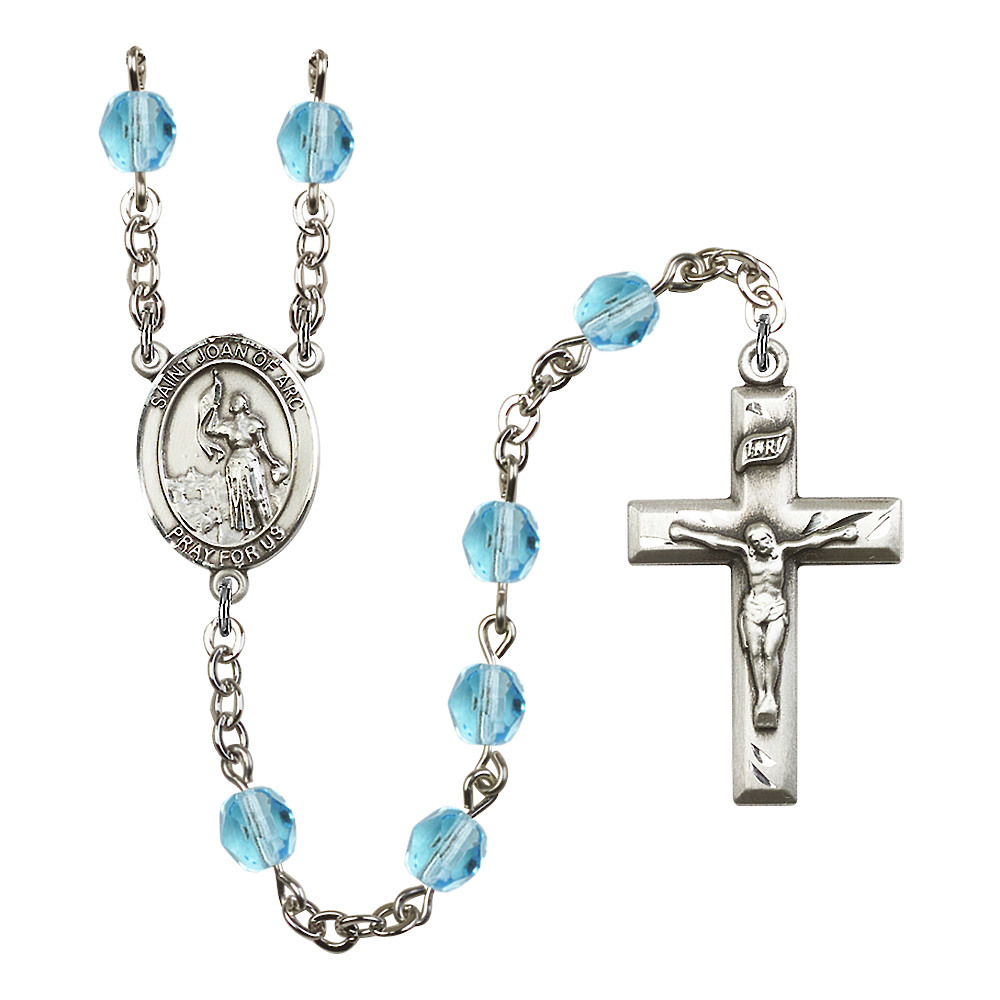 St. Joan of Arc Silver-Plated Rosary 6mm March Light Blue Fire Polished Beads Crucifix Size 1 3/8 x 3/4 medal charm
