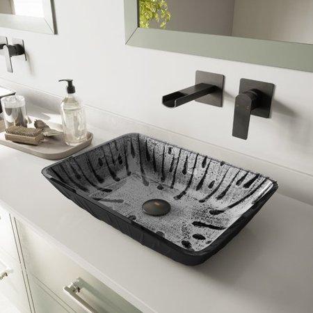 Vigo Plutonian Tempered Glass Rectangular Vessel Bathroom Sink
