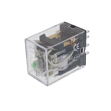 HH52P MY2 24VDC Coil Voltage 2P2T 8 Pins 5A Green LED Light Power Relay - image 1 of 1