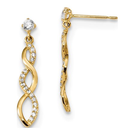 14k Boucles d'oreilles en or jaune Madi K CZ Twisted Dangle (post) de 4.2x24mm - image 2 de 2