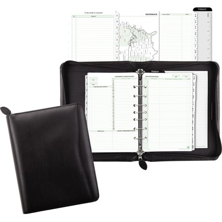 Day-Timer, DTM41745, Bonded Leather Zip Planner Starter Set, 1 Each, Black