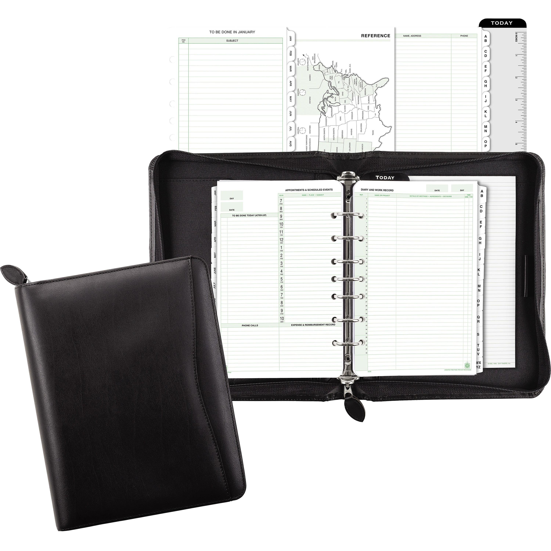 Day-Timer, DTM41745, Bonded Leather Zip Planner Starter Set, 1 Each, Black