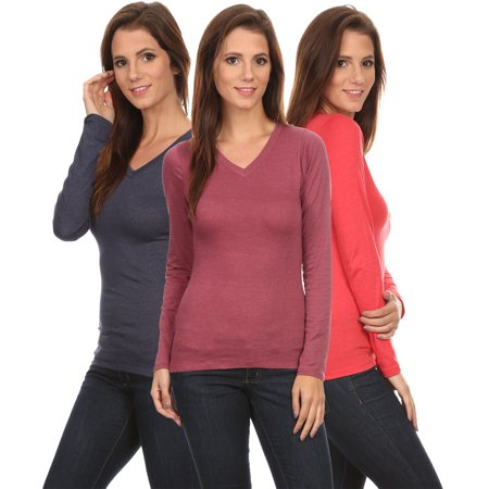 3 Pack Women's Long Sleeve Shirt V-Neck Slim Fit BERRY/CORAL/NAVY 3 Pack Cotton V-neck Tee