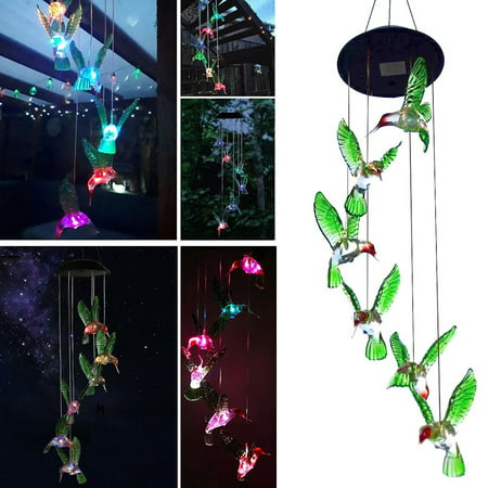 TSV Hummingbird Solar Powered Bird Wind Chimes Outdoor Changing Color LED Bird Spinner Garden Decoration