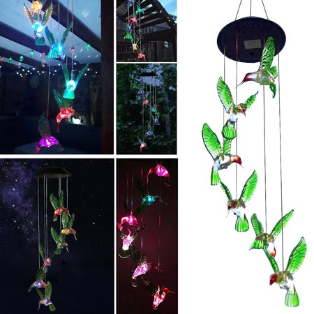 TSV Hummingbird Solar Powered Bird Wind Chimes Outdoor Changing Color LED Bird Spinner Garden (Good Directions Wind Chime)