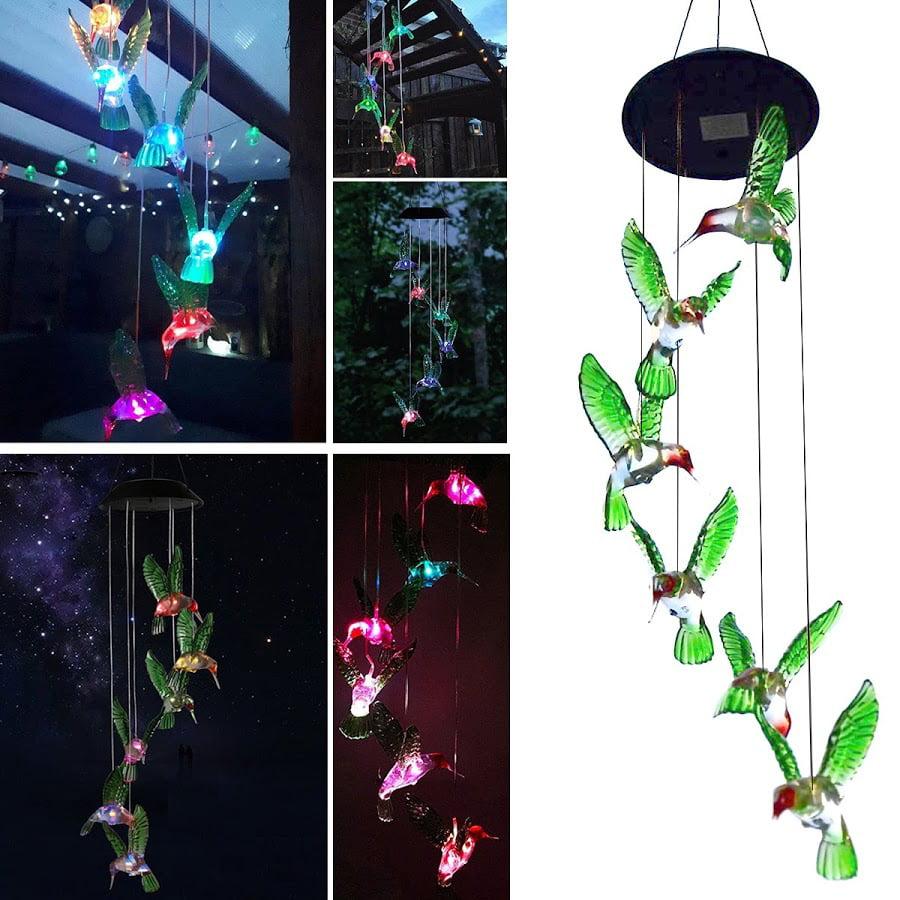 Hummingbird Solar Powered Bird Wind Chimes Outdoor Changing Color LED Bird Spinner Garden Decoration