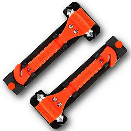 Battery Belt Dual 4 Pin - 2-Pack Zento Deals Dual Steel Hammer Heads Window Breaker and Seatbelt Cutter-Automobile 2 in 1 Emergency Escape Rescue Tool