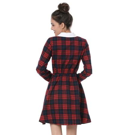 Unique Bargains Women's Contrast Peter Pan Collar Check Dress Red L - image 4 of 7