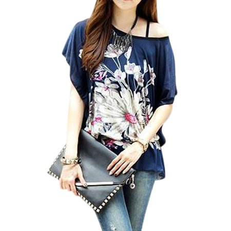 Allegra K Women's Flower Prints Scoop Neck Loose Fit Tunic Top w Waist String Blue (Size S / 4)