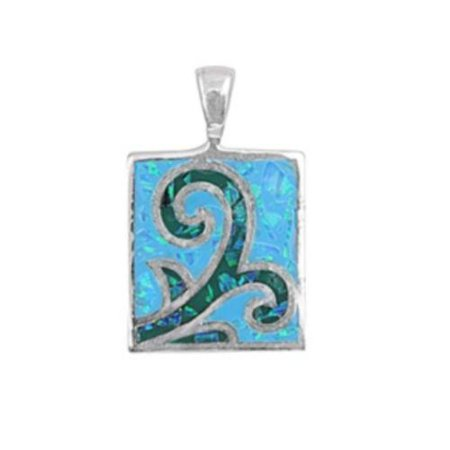 Whale Fluke Simulated Opal Pendant Sterling Silver