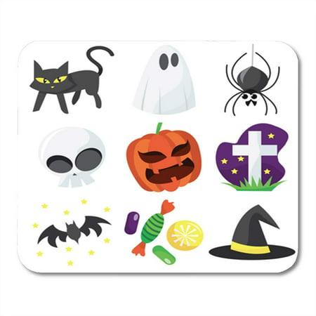 KDAGR Bat Cartoon of Cute Halloween Black Candy Cat Costumes Mousepad Mouse Pad Mouse Mat 9x10 inch](Cartoon Halloween Black Cats)