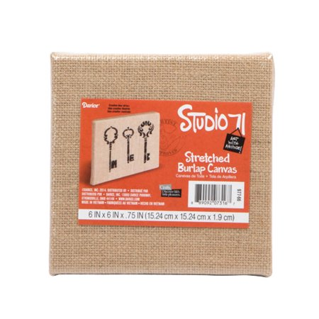 Darice Studio 71 - Burlap Stretched Canvas Panel - 6x6 inches