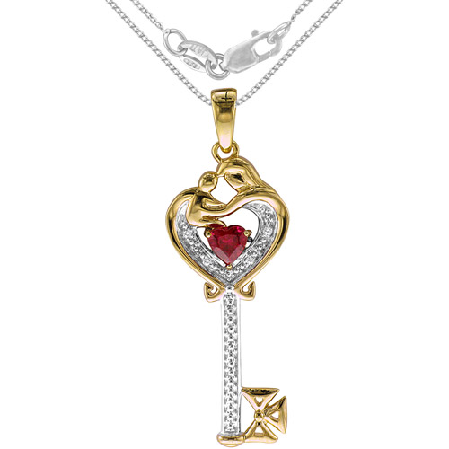 """.60 Carat T.G.W. Created Ruby and Diamond Accent Sterling Silver Mother & Child Pendant, 20"""""""