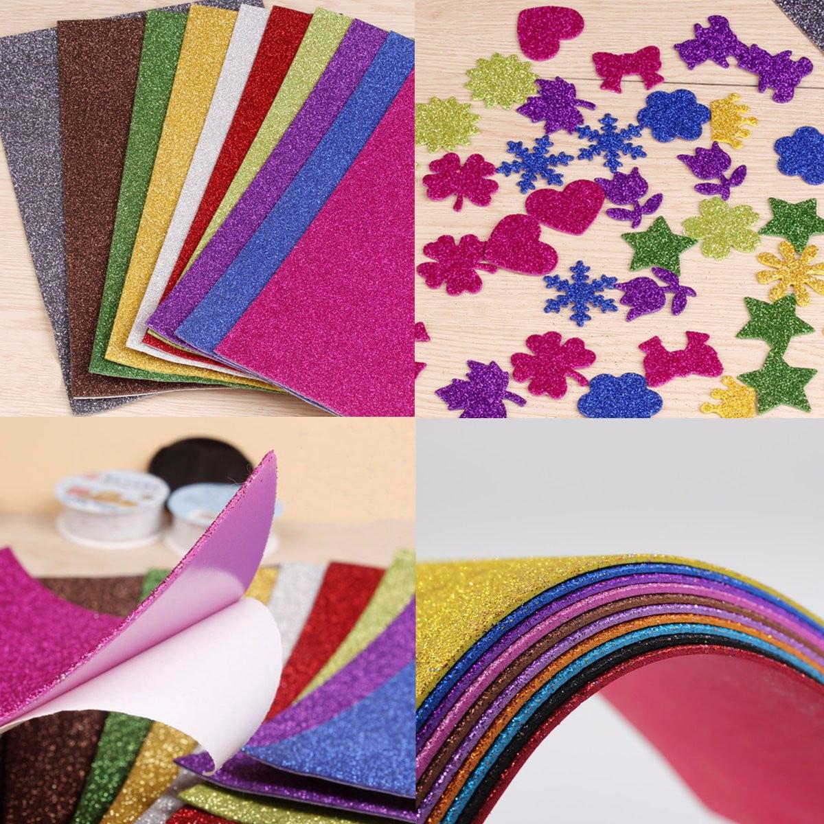 10pcs adhesive glitter scrapbooking paper vinyl sticker art sheets craft 8x12