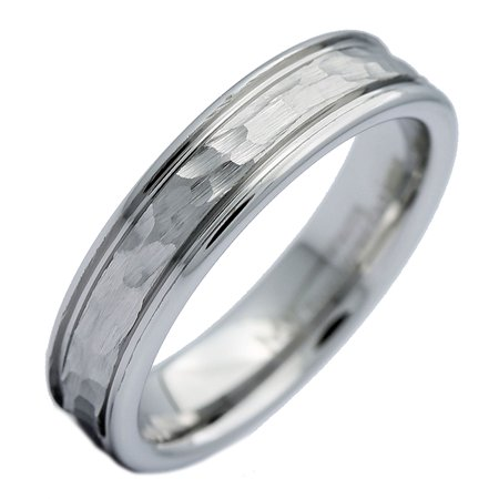 5mm White Tungsten Carbide Hammered Center Polished Edge Wedding Band Ring 5mm Hammered Band Ring
