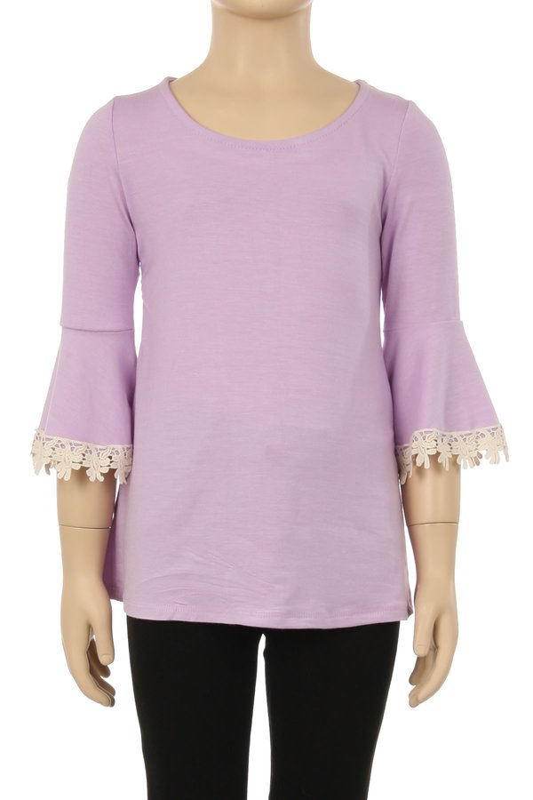 Children's Solid Top with Lace Trim Sleeves