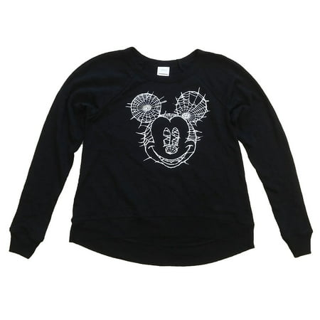Disney Women Spiderweb Mickey Mouse Halloween Relaxed Fit Black Sweatshirt (Disney Halloween Color Pages Printable)