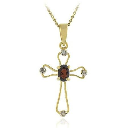Glitzy Rocks  18k Gold Overlay Garnet Diamond Cross Necklace