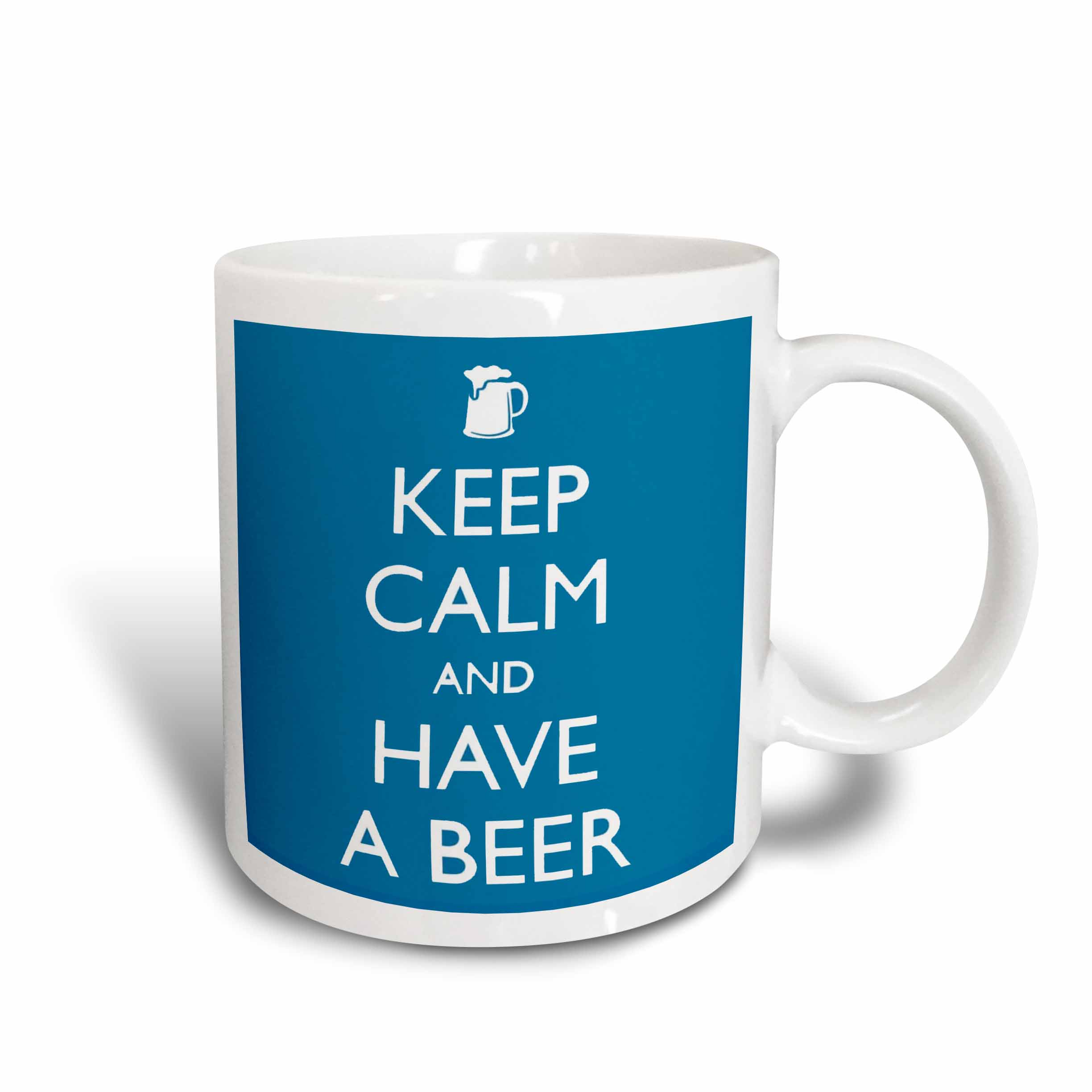 3dRose Keep calm and have a beer. Blue., Ceramic Mug, 11-ounce