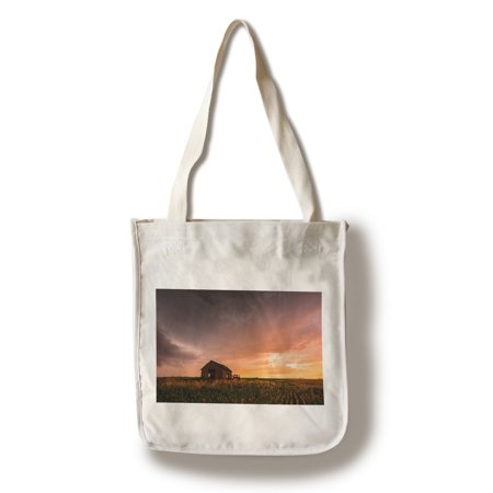 Barn & Sunset - Lantern Press Photography (100% Cotton Tote Bag - Reusable)