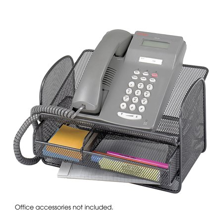 2160BL Onyx Home Office Black Steel Mesh Design Telephone Stand With Storage Drawer (Qty. (Safco Model Design)